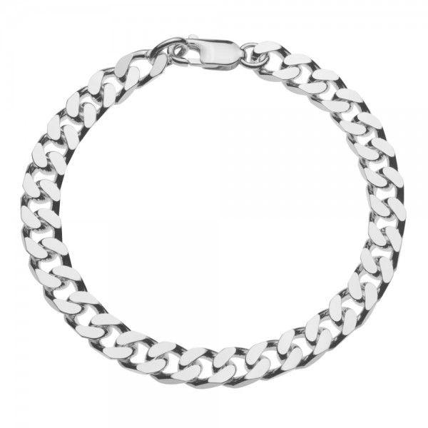 Zilveren gourmet armband voor heren met dikke schakels. Breedte 7 mm, lengte 21 of 22 cm.