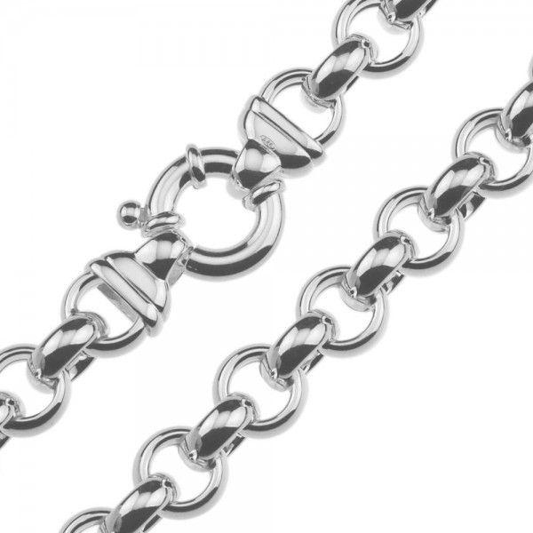 Zilveren jasseron ketting met ronde schakels. 11 mm breed, 45 of 50 cm lang.