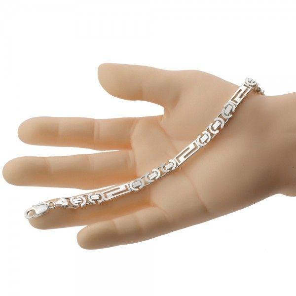 Zilveren konings armband van 7,5 mm breed met 3 platen in de vorm van een doolhof, 19,5 cm, 20,5 cm, 21,5 cm of 22,5 cm lang.