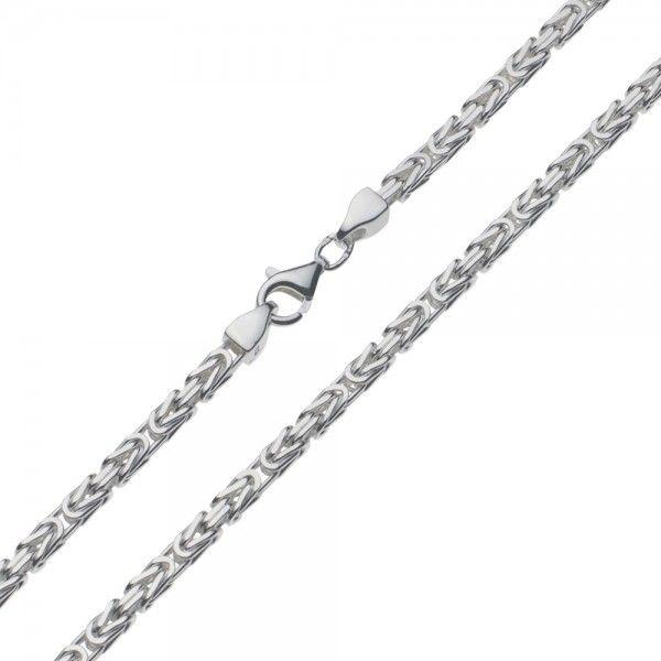 Zilveren konings ketting met vierkante schakels van 3 mm breed, 50, 55, 60 of 70 cm lang