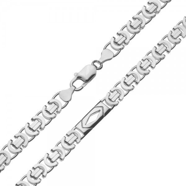 Zilveren konings ketting van 7,5 mm breed met 4 platen in de vorm van een ruitje ertussen, 60 of 70 cm lang.