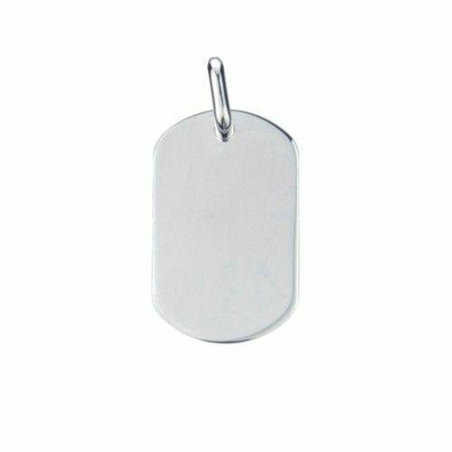 Zilveren graveerplaat. Model dog tag met ronde hoeken. Afmetingen 3,5 x 2 cm. Inclusief gratis graveren.