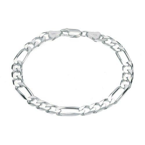 Zilveren figaro armband van 6 mm breed en 21 of 22 cm lang