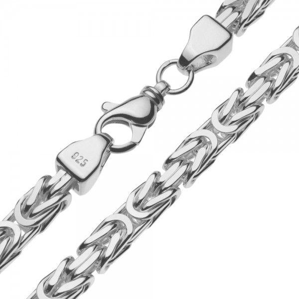 Zilveren konings ketting met vierkante schakels van 8 mm breed, 60, 70 of 80 cm lang