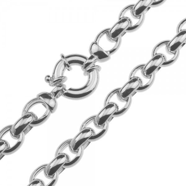Zilveren jasseron ketting met ovale schakels. 9 mm breed, 45 of 50 cm lang.
