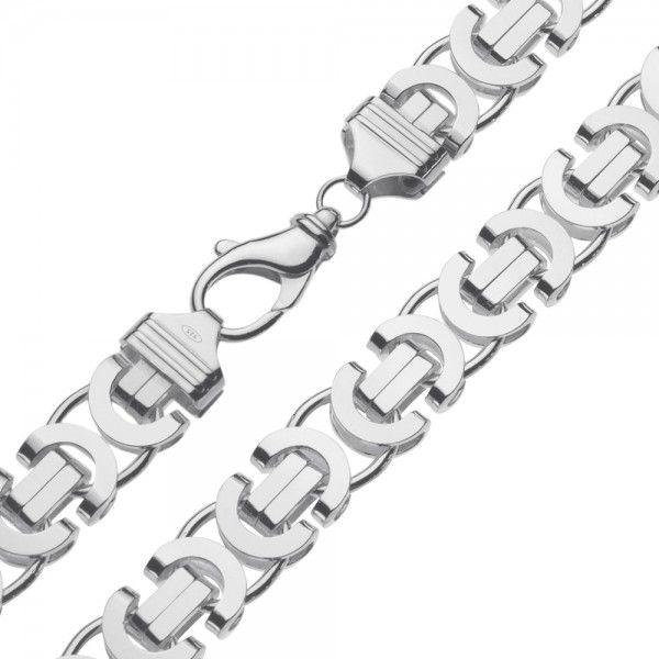 Zilveren konings ketting met platte schakels van 14 mm breed. Elke lengte mogelijk