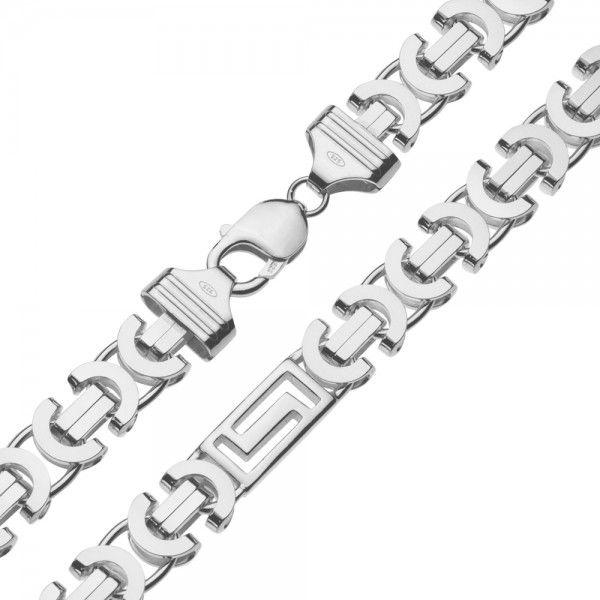Zilveren konings ketting van 11 mm breed met 4 platen in de vorm van een labyrinth ertussen, 60 of 70 cm lang.