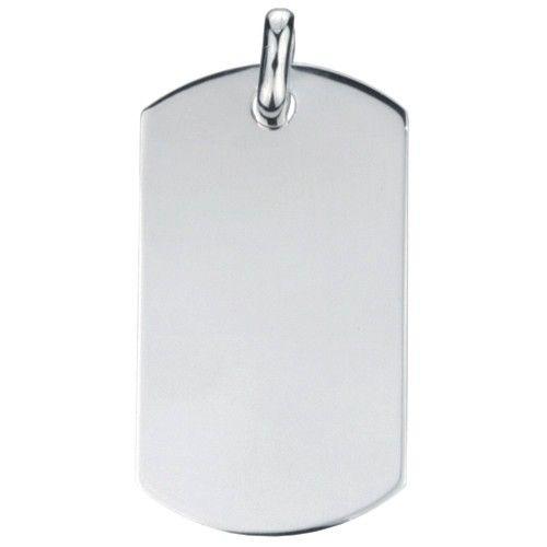 Grote zilveren graveerplaat. Model dog tag, hoekig. Afmetingen 6 x 3 cm. Inclusief gratis graveren.