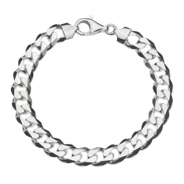 Zilveren gourmet armband met platte schakels. Breedte 9,5 mm, lengte 21,5 cm.