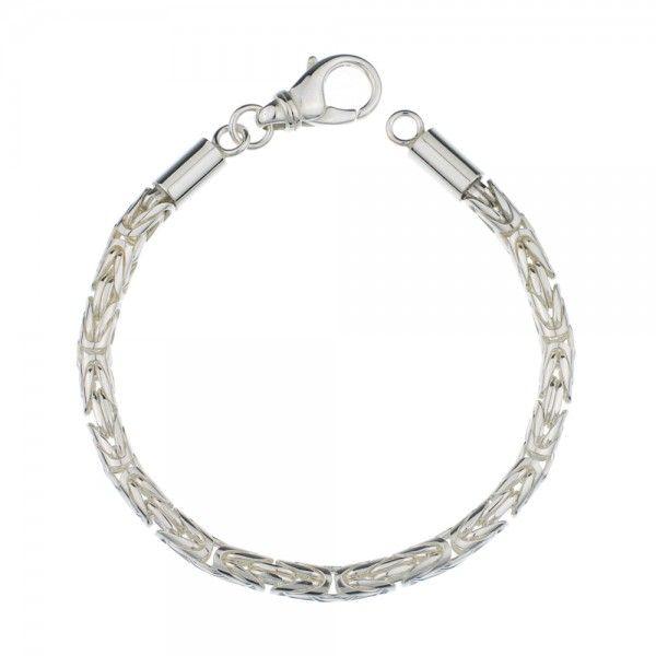 Zilveren konings armband met ronde schakels van 4 mm breed. Afgeprijsd!