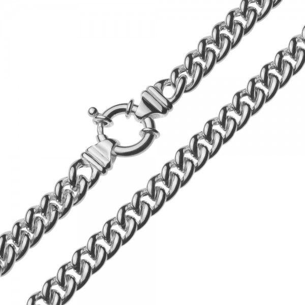 Zilveren gourmet ketting voor dames met groot rond slot. Breedte 7,5 mm, lengte 45 cm.