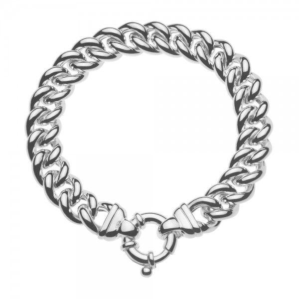Zilveren gourmet armband voor dames met groot rond slot. Breedte 11,5 mm. Lengte 20 of 21 cm