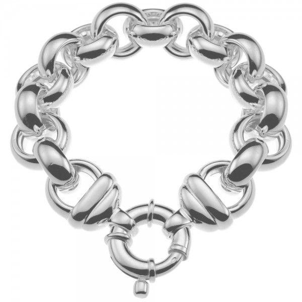 Zilveren jasseron armband met ronde schakels. 16 mm breed, 21 of 23 cm lang