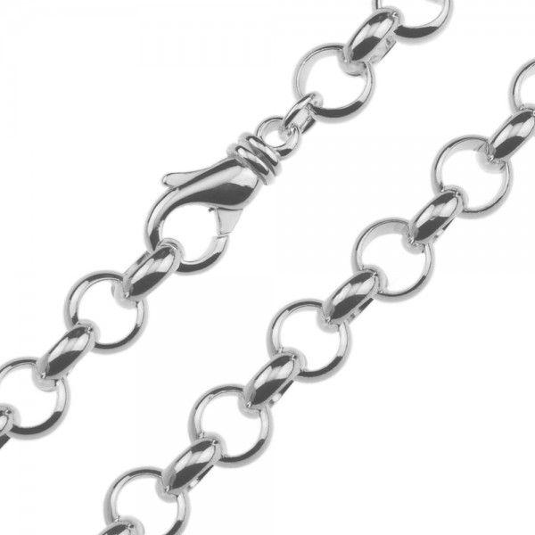 Zilveren jasseron ketting met massieve schakels. 10 mm breed, alle lengtes mogelijk.