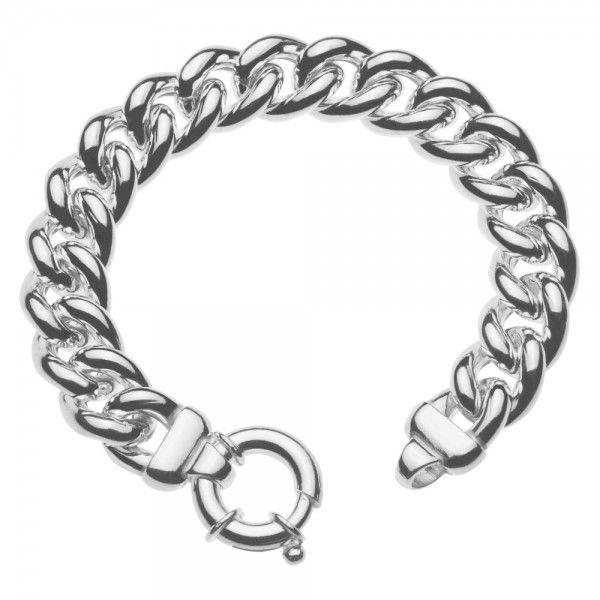 Zilveren gourmet armband voor dames met groot rond slot. Breedte 14 mm. Lengte 21 cm