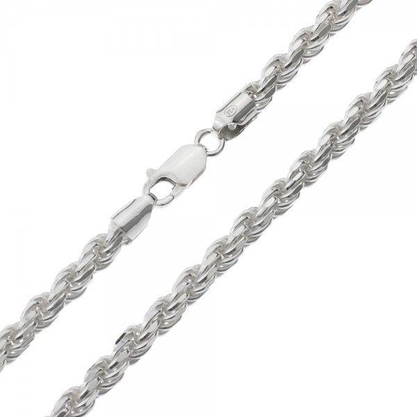 Koord ketting van 925 zilver met geslepen schakels, breedte 5 mm. Alle lengtematen mogelijk!
