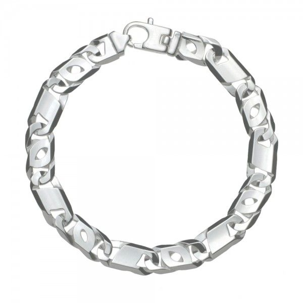 Zilveren Valkenoog armband met plaatjes voor heren. Uit voorraad leverbaar in de lengtes 21 en 22 cm.
