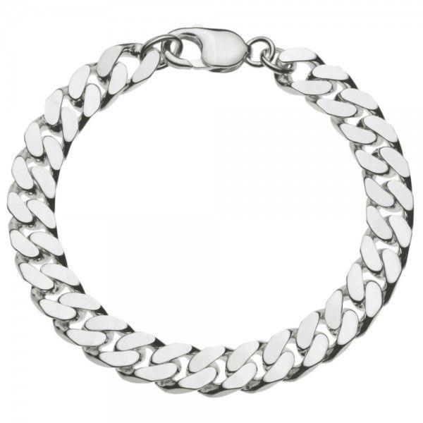 Zilveren gourmet armband voor heren met dikke schakels. Breedte 9,5 mm, lengte 21 of 22 cm.