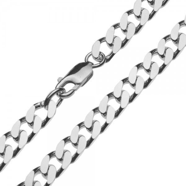 Zilveren gourmet ketting voor heren met dikke schakels. Breedte 7 mm, lengte 50 of 60 cm.