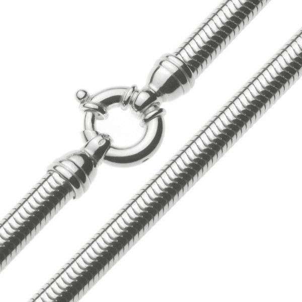 Zilveren snake chain van 6,5 mm breed met mooie grote veerring. Op lengte voor u gemaakt.