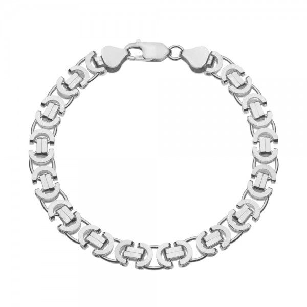 Zilveren konings armband met platte schakels van 7,5 mm breed. Elke lengte mogelijk