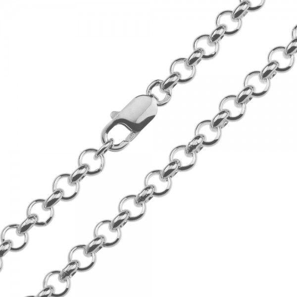 Zilveren jasseron ketting met massieve schakels. 6 mm breed, alle lengtes mogelijk.