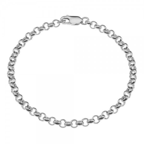 Zilveren jasseron armband met massieve schakels. 4 mm breed, alle lengtes mogelijk