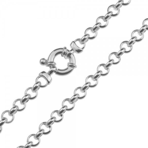 Zilveren jasseron ketting met ronde schakels. 5,5 mm breed, 42 of 45 cm lang.
