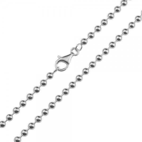 Zilveren balletjes ketting van 4 mm breed in iedere gewenste lengte.