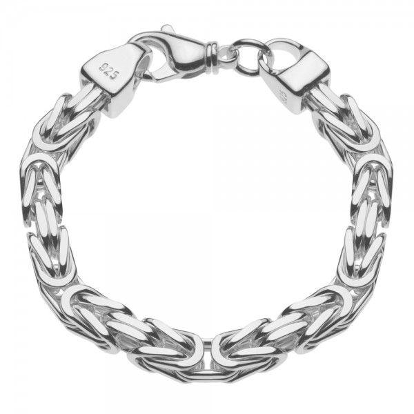 Zilveren konings armband met vierkante schakels van 8 mm breed, 22 of 24 cm lang