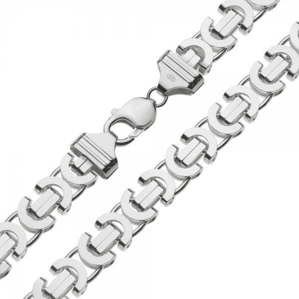 Zilveren konings ketting met platte schakels van 11 mm breed. Elke lengte mogelijk
