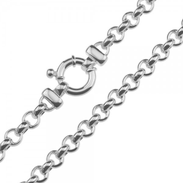 Zilveren jasseron ketting met ronde schakels. 6,5 mm breed, 42 of 45 cm lang.