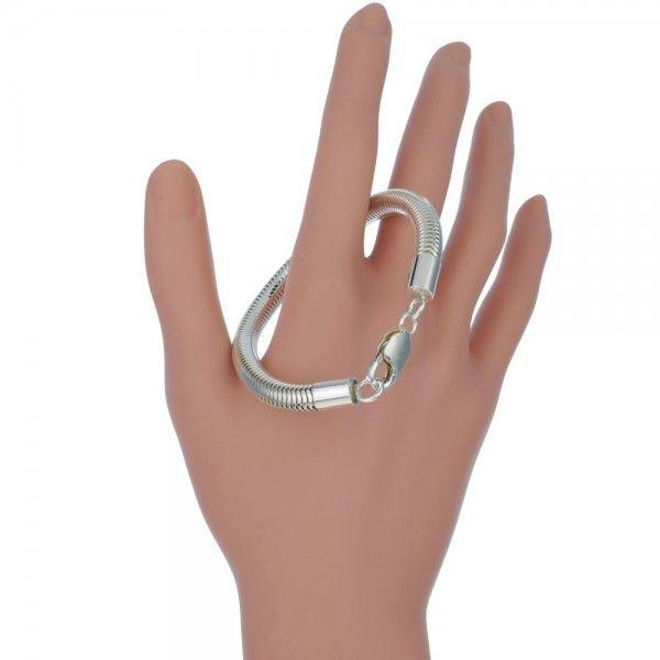 Zilveren snake chain armband van 6,5 mm breed. Op lengte voor u gemaakt.