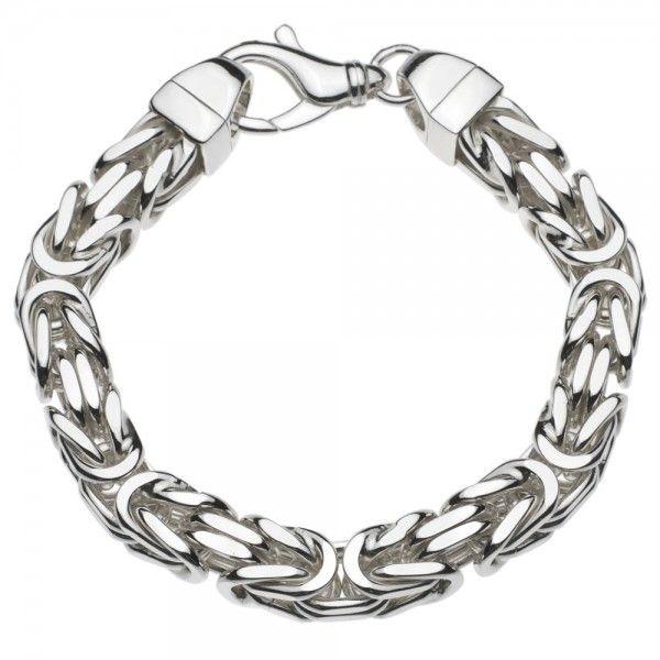 Zilveren konings armband met vierkante schakels van 11 mm breed, 26 cm lang. Afgeprijsd!