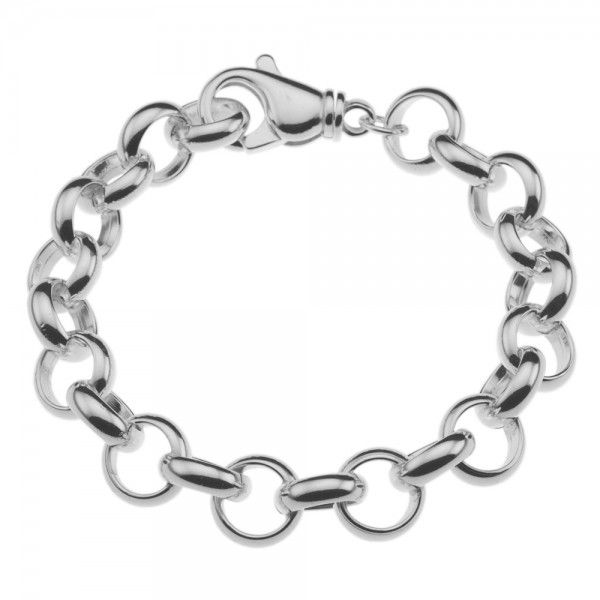 Zilveren jasseron armband met massieve schakels. 12 mm breed, alle lengtes mogelijk