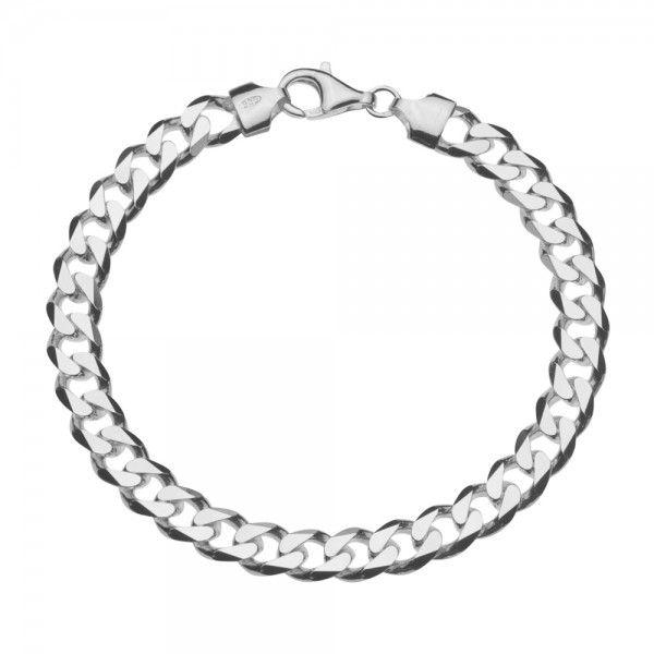 Zilveren gourmet armband met platte schakels. Breedte 7,5 mm, lengte 20 of 21 cm.
