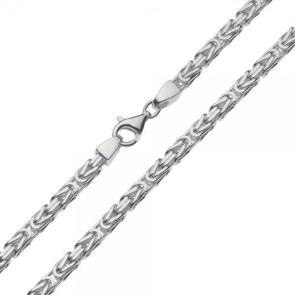 Zilveren konings ketting met vierkante schakels van 4 mm breed, 50, 55, 60 of 70 cm lang