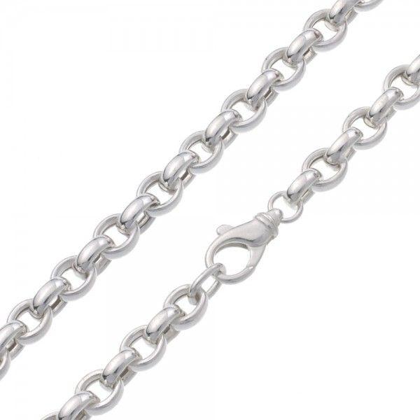 Zilveren jasseron ketting met ovale schakels. 8,5 mm breed, 45 cm lang. Afgeprijsd