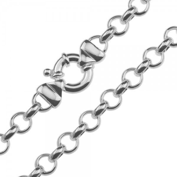 Zilveren jasseron ketting met ronde schakels. 8 mm breed, 45 of 50 cm lang.