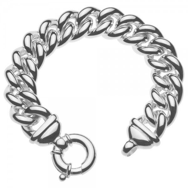 Zilveren gourmet armband voor dames met groot rond slot. Breedte 17 mm. Lengte 21 of 22 cm
