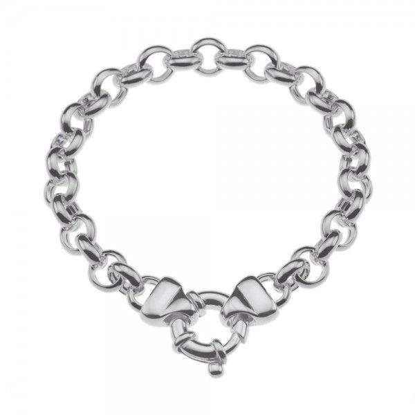 Zilveren jasseron armband met ronde schakels. 8 mm breed, 19, 20 of 21 cm lang