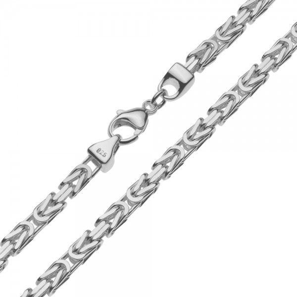 Zilveren konings ketting met vierkante schakels van 5 mm breed, 60 cm lang