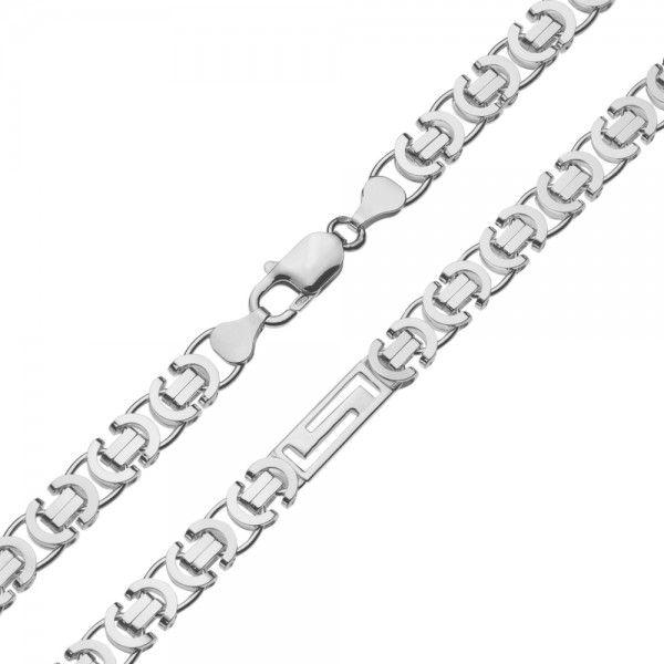 Zilveren konings ketting van 7,5 mm breed met 4 platen in de vorm van een doolhof ertussen, 60 of 70 cm lang.