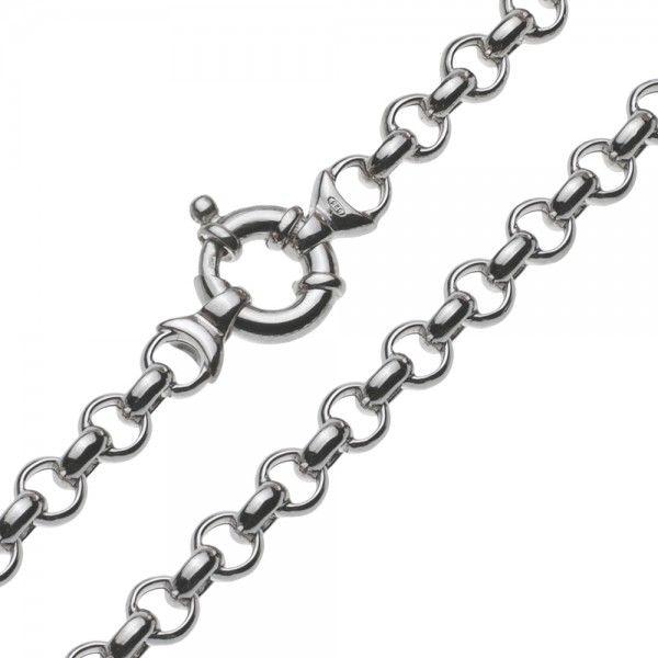 Gerhodineerde zilveren jasseron ketting met ronde schakels. 7,5 mm breed, 45 cm lang. Afgeprijsd!