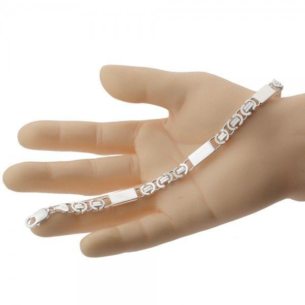 Zilveren konings armband van 7,5 mm breed met 3 massieve platen ertussen, 19,5 cm, 20,5 cm, 21,5 cm of 22,5 cm lang.