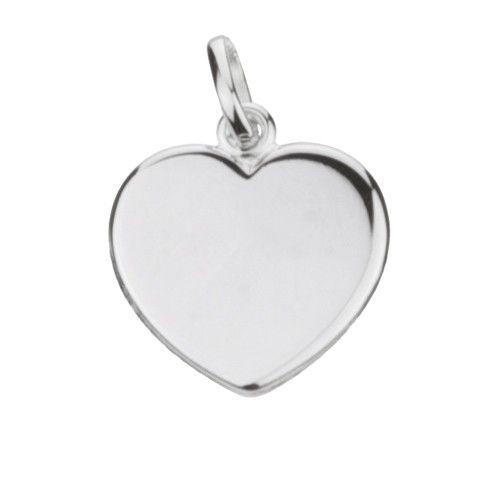 Massief zilveren graveerplaatje, groot model hartje. Afmetingen van dit hangertje: 18 x 20 mm. Inclusief gratis graveren.