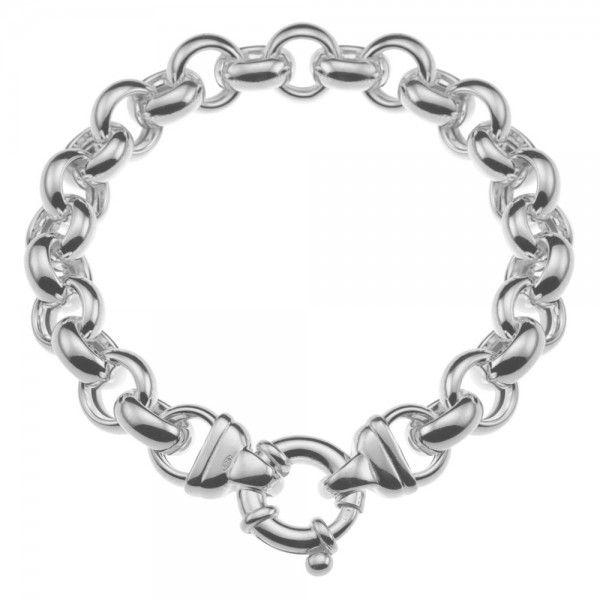 Zilveren jasseron armband met ronde schakels. 11 mm breed, 20, 21,5 of 23 cm lang