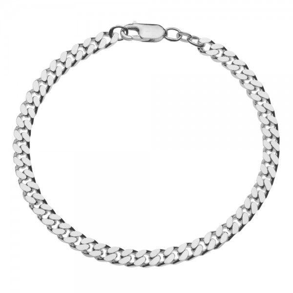 Zilveren gourmet armband voor heren met dikke schakels. Breedte 5 mm, lengte 20 of 21 cm.