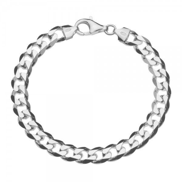 Zilveren gourmet armband met platte schakels. Breedte 8 mm, lengte 20 of 21 cm.