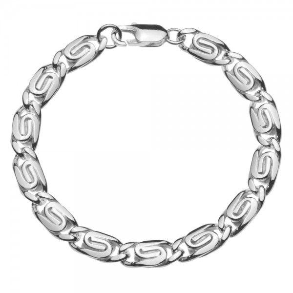 Zilveren Griekse armband van 7,5 mm breed in iedere gewenste lengte leverbaar!